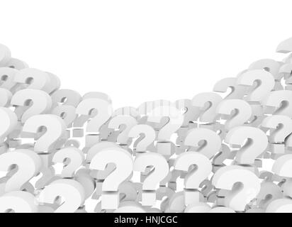 Question marks 3d background isolated on white background - Stock Photo
