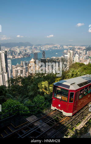 Cityscape of Hong Kong as seen from the Victoria Peak. - Stock Photo