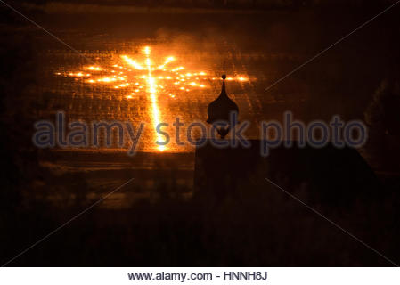 A sacred heart fire on Elferspitze mountain in the Stubai Valley. - Stock Photo