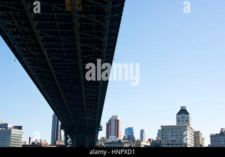 Brooklyn Bridge to Dumbo district, New York, USA - Stock Photo