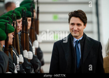 Berlin, Germany. 16th Feb, 2017. Canada's Prime Minister Justin Trudeau arrives at the military part of Tegel airport - Stock Photo