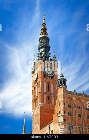 Gdansk, Town Hall on the Long Market, Poland - Stock Photo