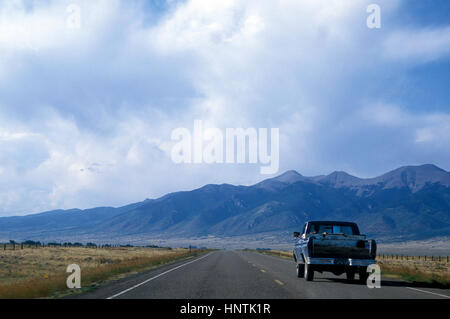 Pick up truck on a road in Colorado USA 1994 - Stock Photo