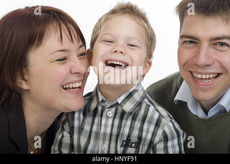 Model release , Familienfoto, Eltern mit Sohn - family portrait, parents with son - Stock Photo