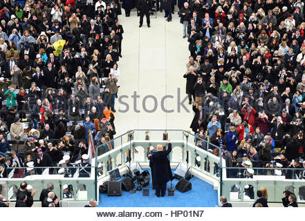 President Donald Trump delivers his inaugural address on January 20, 2017 at the U.S. Capitol in Washington, D.C. - Stock Photo