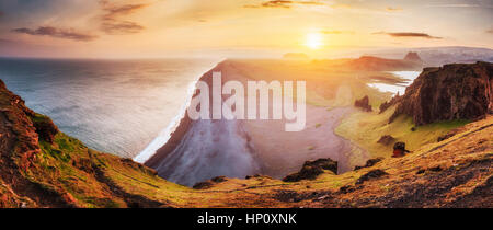 Landscape with ocean and Reynisfjall mount. Iceland - Stock Photo