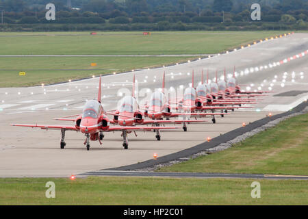 Royal Air Force Red Arrows Aerobatic Display Team taxy for take off at Hawarden Airport, Chester, England, UK after - Stock Photo
