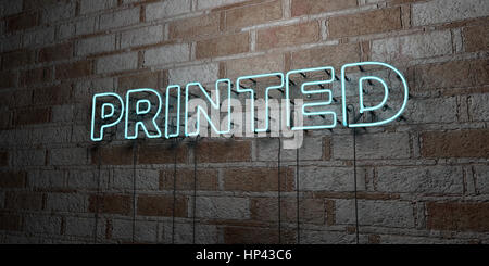 PRINTED - Glowing Neon Sign on stonework wall - 3D rendered royalty free stock illustration.  Can be used for online - Stock Photo