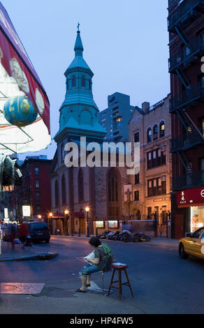 Street Scene At Dusk Chinatown Manhattan New York