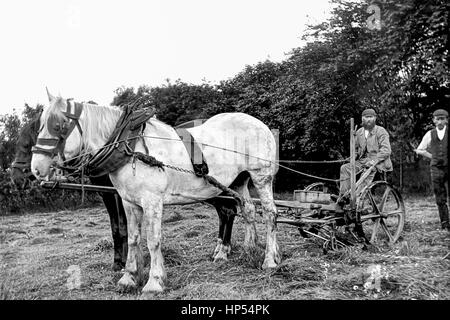 A farmer in Keighley, Yorkshire shows his new Bamford Grass cutter. Photograph taken in1900. With thanks to Roy - Stock Photo
