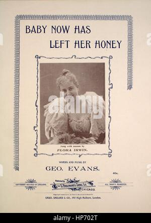 Sheet music cover image of the song 'Baby Now Has Left Her Money', with original authorship notes reading 'Words - Stock Photo
