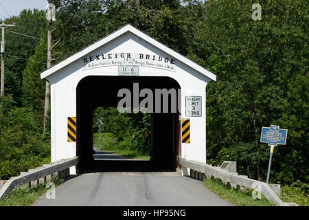 Rexleigh Bridge is a wooden covered bridge over the Batten Kill in Washington County, New York. It is one of 29 - Stock Photo