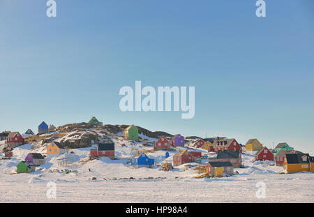 Colorful houses in spring time in Greenland - Stock Photo