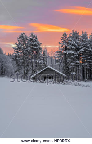 barrack in snow in a forest , winter, mountain landscape during sunset - Stockfoto