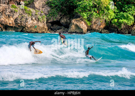 Surfer, Boston bay, watersports, waves, surfing, Jamaica, Jamaika - Stock Photo