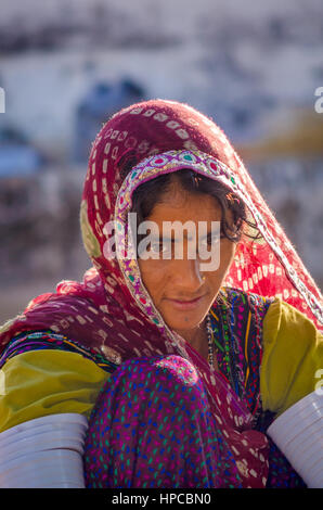 RAJASTHAN, INDIA - NOVEMBER 20, 2016: Closeup of an unidentified beautiful Rajasthani woman wearing traditional - Stock Photo