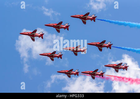 DAWLISH, UNITED KINGDOM - AUGUST 23 2014: The Royal Air Force Red Arrows aerobatics display team flying at the Dawlish - Stock Photo