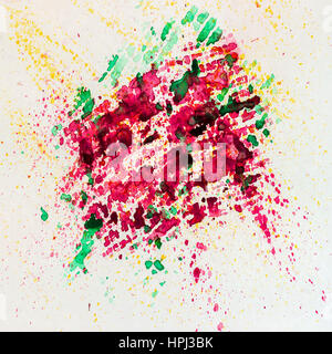 Abstract watercolor vivid colorful background painting with spray, spots, splashes. Hand drawn on paper grain texture. - Stock Photo