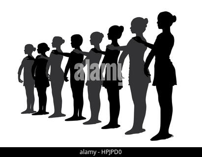 Group of ballet dancers standing in a row - Stock Photo
