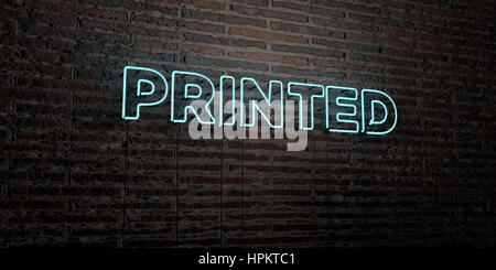 PRINTED -Realistic Neon Sign on Brick Wall background - 3D rendered royalty free stock image. Can be used for online - Stock Photo