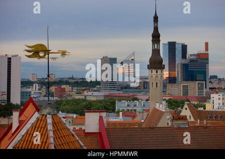 Old city with Town Hall Tower and modern city from viewing platform in Toompea district,Tallinn,Estonia - Stock Photo