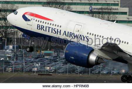 Undated file photo of a British Airways Boeing 777 taking off. The owner of BA has taken a 460 million euro (£389 - Stock Photo