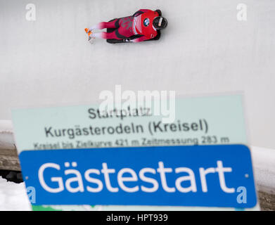 Koenigssee, Germany. 24th Feb, 2017. Latvian athlete Martins Dukurs in action at the Bobsleigh & Skelton World Championships - Stock Photo