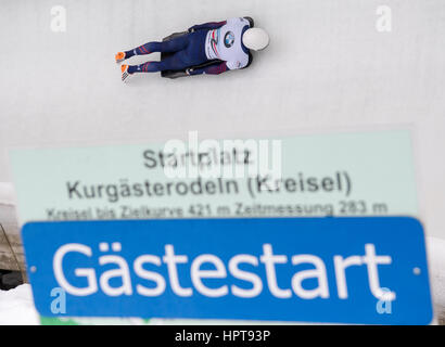 Koenigssee, Germany. 24th Feb, 2017. American athlete Matthew Antoine in action at the Bobsleigh & Skelton World - Stock Photo