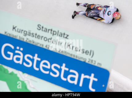 Koenigssee, Germany. 24th Feb, 2017. Japanese athlete Hiroatsu Takahashi in action at the Bobsleigh & Skelton World - Stock Photo