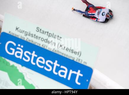 Koenigssee, Germany. 24th Feb, 2017. Norwegian athlete Alex Hanssen in action at the Bobsleigh & Skelton World Championships - Stock Photo