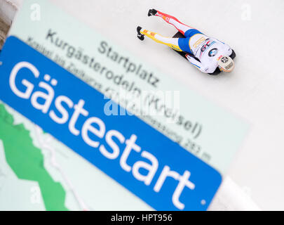 Koenigssee, Germany. 24th Feb, 2017. Spanish athlete Ander Mirambell in action at the Bobsleigh & Skelton World - Stock Photo