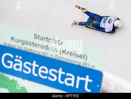 Koenigssee, Germany. 24th Feb, 2017. Swedish athlete Rassmus Ottosson in action at the Bobsleigh & Skelton World - Stock Photo