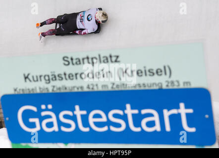Koenigssee, Germany. 24th Feb, 2017. Canadian athlete Barrett Martineau in action at the Bobsleigh & Skelton World - Stock Photo