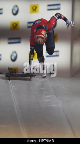 Koenigssee, Germany. 24th Feb, 2017. German athlete Tina Herrmann in action at the IBSF Bobsleigh and Skeleton World - Stock Photo