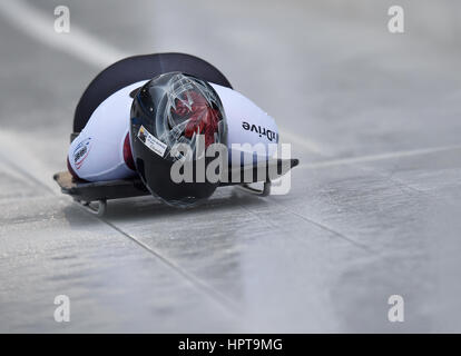 Koenigssee, Germany. 24th Feb, 2017. Canadian athlete Elisabeth Vathje in action at the IBSF Bobsleigh and Skeleton - Stock Photo