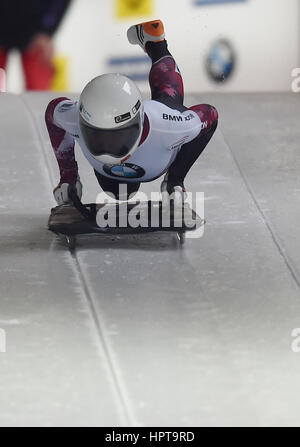 Koenigssee, Germany. 24th Feb, 2017. Canadian athlete Mirela Rahneva in action at the IBSF Bobsleigh and Skeleton - Stock Photo