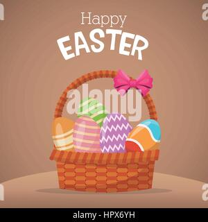 happy easter card basket egg - Stock Photo