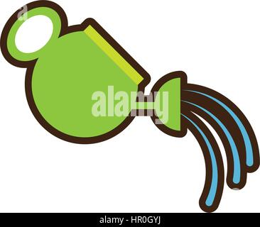 cartoon of cute farmer and watering can with drops of