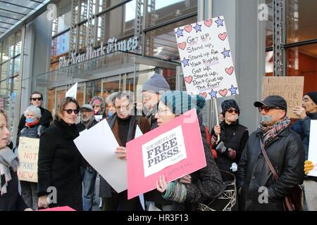 New York, USA. 26th February 2017. Hundreds of activists stood in silence outside the New York Times' headquarters - Stock Photo