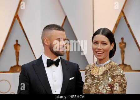 Los Angeles, CA, USA. 26th Feb, 2017. Justin Timberlake, Jessica Biel at arrivals for The 89th Academy Awards Oscars - Stock Photo