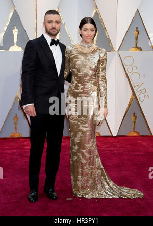 Hollywood, CA, USA. 26th Feb, 2017. 26 February 2017 - Hollywood, California - Justin Timberlake and Jessica Biel. - Stock Photo