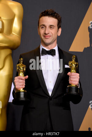 Los Angeles, USA. 26th Feb, 2017. LOS ANGELES, CA. February 26, 2017: Justin Hurwitz in the photo room at the 89th - Stock Photo