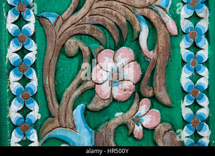 Carvings Vintage Style Floral on The Tree Seamless Pattern on Wooden - Stock Photo