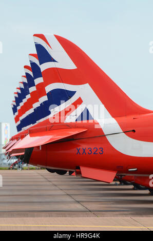 Red Arrows jets lined up at the Royal International Air Tattoo Fairford - Stock Photo