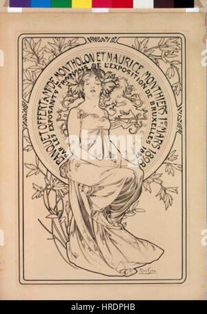 Autor Alfons Mucha 24.7.1860-14.7.1939 - Plakat na banket - Stock Photo