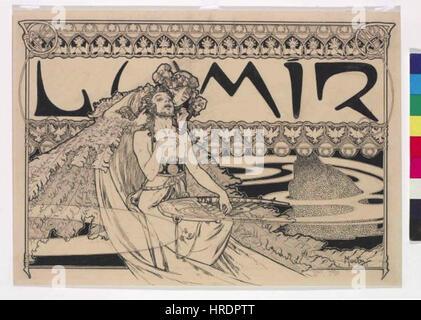 Autor Alfons Mucha 24.7.1860-14.7.1939 - Zahlavi casopisu Lumir - Stock Photo