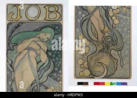 Autor Alfons Mucha 24.7.1860-14.7.1939 - Navrh na plakat JOB - Stock Photo