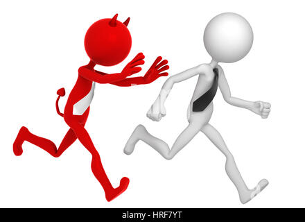 Businessman running away from Businessdevil. Isolated - Stock Photo