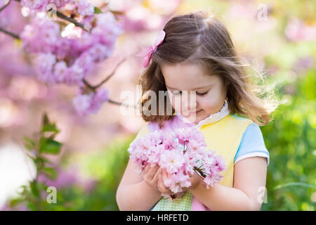 Little happy girl playing under blooming cherry tree with pink flowers. Child holding sakura blossom. Summer fun - Stock Photo