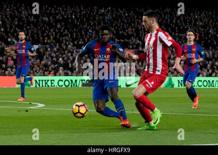 Camp Not Stadium, Barcelona, Spain. 1st March, 2017. Burgui snaps from Umtiti at Camp Nou Stadium, Barcelona, Spain. - Stock Photo